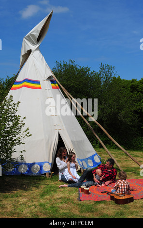 Camping In A Tipi Tent Stock Photo 136389983 Alamy