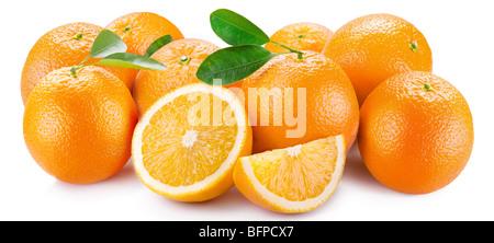 Oranges with segments on a white background - Stock Photo