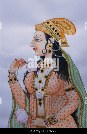 BDR 66487 : Miniature painting of mughal lady on paper - Stock Photo