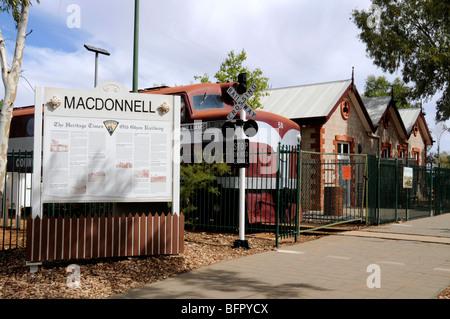 The old Ghan Railway Heritage museum in Alice Springs, Australia - Stock Photo