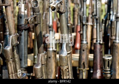 A set of automatic guns that belonged to the demobilized Colombian paramilitary forces (AUC) in Casibare, Meta, - Stock Photo