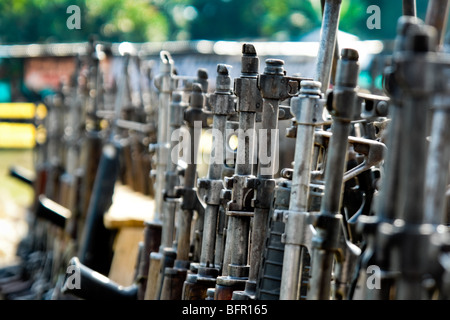 Machine guns that belonged to the demobilized Colombian paramilitary forces (AUC) in Casibare, Meta, Colombia. - Stock Photo