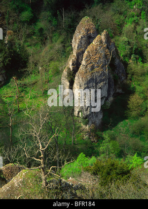 Jacob's Ladder - one of the large  limestone rock formations in Dovedale, Peak District National Park. - Stock Photo