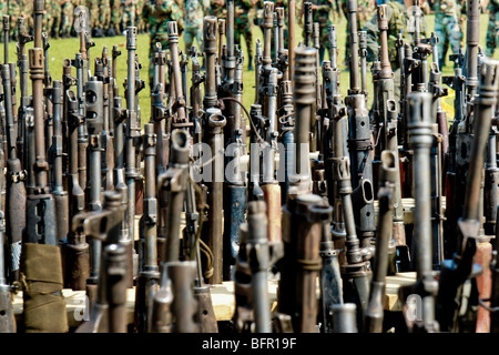Automatic guns that belonged to the demobilized Colombian paramilitary forces (AUC) in Casibare, Meta, Colombia. - Stock Photo