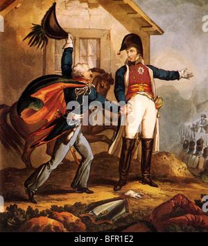 BLUCHER meets the Duke of Wellington at La Belle Alliance inn during the Battle of Waterloo (see Description below) - Stock Photo