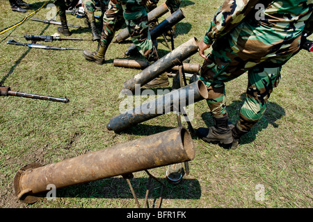 A set of guns that belonged to the demobilized Colombian paramilitary forces (AUC) in Casibare, Meta, Colombia. - Stock Photo