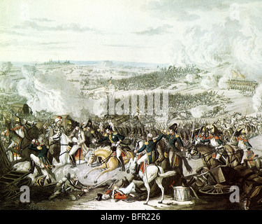 BATTLE OF WATERLOO 18 June 1815 - A defeated Napoleon turns and flees from the fighting with Marshal Roustam urging - Stock Photo