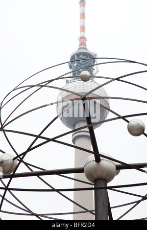 World Time Clock and TV tower  - Alexanderplatz, Berlin - Stock Photo