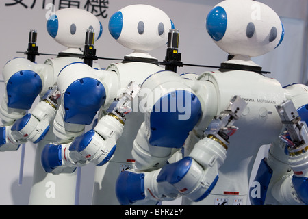 'Motoman' robots produced by Yaskawa company, International Robot Exhibition 2009, in Tokyo, Japan - Stock Photo