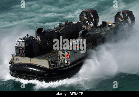 A U.S. Navy Landing Craft Air Cushion heading to the Kuwait Naval Base. - Stock Photo