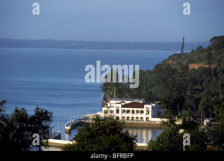 Club Naval and a view over the Maputo bay - Stock Photo