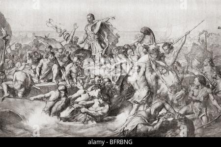 Julius Caesar's first invasion of Britain in 55BC. - Stock Photo