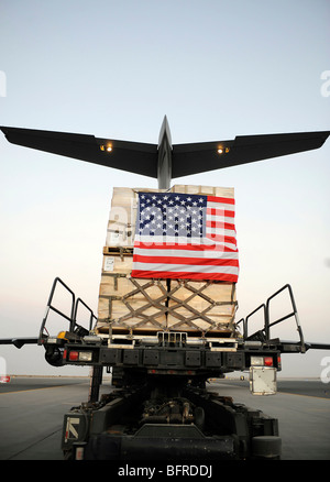 A pallet containing humanitarian relief supplies. - Stock Photo