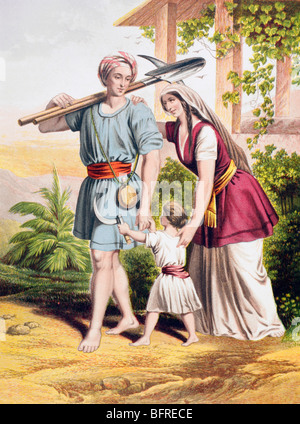 Man goeth forth unto his work and to his labour until the evening.  From Psalms 104 verse 23. Farmer sets off on - Stock Photo