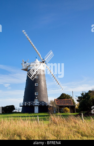 Burnham Overy Tower Windmill on the North Norfolk Coast Road between Burnham Overy & Holkham - Stock Photo