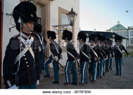 Royal guards at Fredensborg Palace. - Stock Photo
