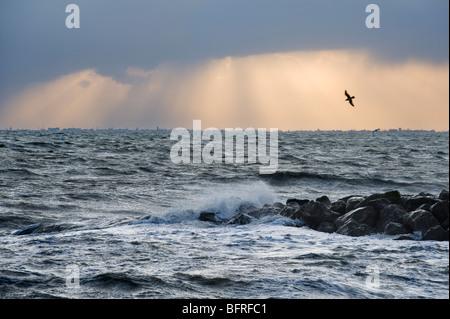 Rough seas during storm. Sandgate, Kent, UK - Stock Photo