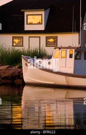 fishing boat and sheds, Stanley Bridge, Prince Edward Island, Canada - Stock Photo