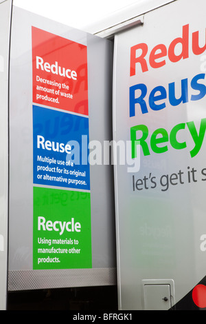 Sign urging Reduce, reuse, recycle, reduce waste _Campaign signs in Aberdeenshire, UK - Stock Photo