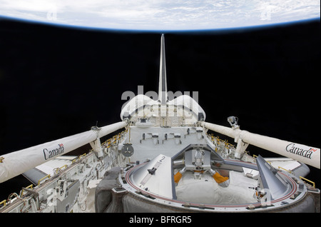 A partial view of Space Shuttle Endeavour's payload bay. - Stock Photo