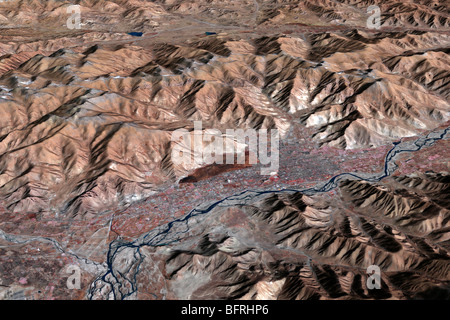 Three-dimensional view of the landscape of Lhasa, Tibet. - Stock Photo