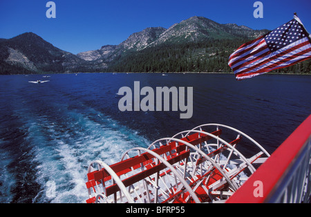 Paddle Steamer wheel on Lake Tahoe Nevada California - Stock Photo