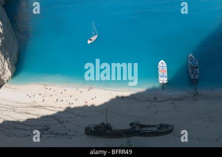 Greece. Zakynthos. Zante. Greek island. October. Smuggler's Cove, Shipwreck Cove, Ag. Georgiou, Navagio. - Stock Photo