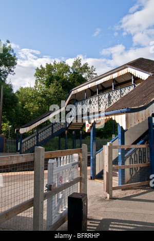 Hagley Train Station Pedestrian Footbridge, Hagley, Worcestershire, England - Stock Photo
