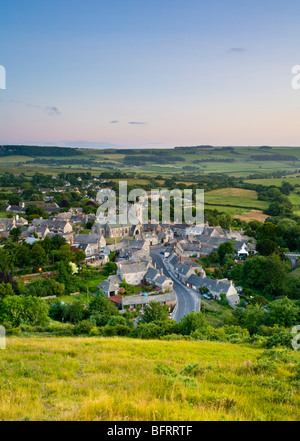 Corfe Castle from East Hill, Dorset England UK - Stock Photo