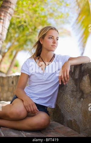 Woman on Hotel Balcony, Punta Burros, Nayarit, Mexico - Stock Photo
