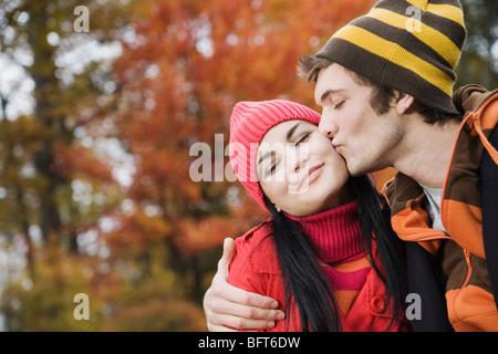 Couple Outdoors in Autumn - Stock Photo