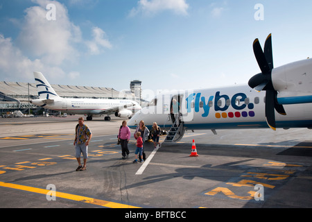 Flybe turboprop plane at Nice airport, Provence, France - Stock Photo