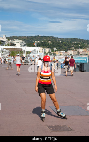 Rollerblading on the Promenade des Anglais, Nice, Provence, France - Stock Photo