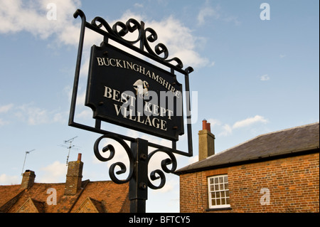 Buckinghamshire best kept village sign in Little Missenden village Bucks UK - Stock Photo