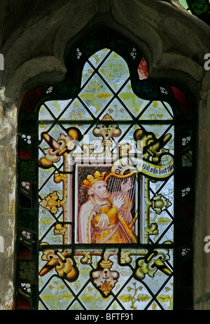 Detail of a stained glass window depicting King David, by Charles Eamer Kempe, Stratford Tony, Wiltshire - Stock Photo