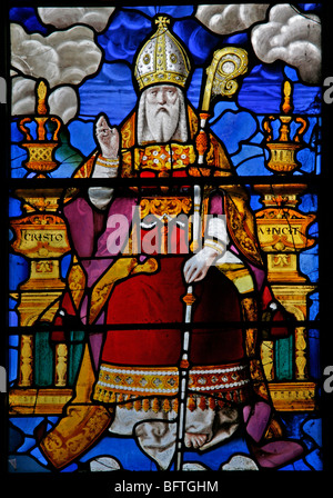 Detail of a stained glass window depicting St Nicholas, Wilton Parish Church, Wilton, Wiltshire - Stock Photo