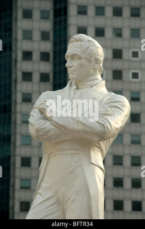 Statue of Sir Thomas Stamford Raffles (1781-1826), Colonial Administrator, Governor and Founder of Singapore, on - Stock Photo