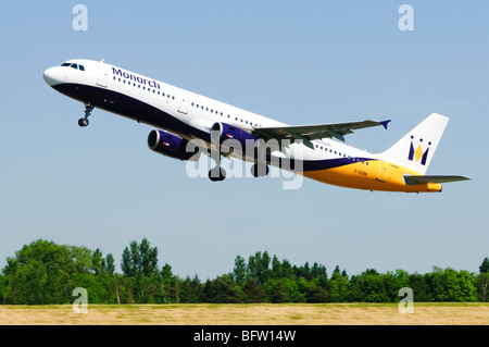 Airbus A321 operated by Monarch Airlines taking off at Birmingham Airport, UK. - Stock Photo