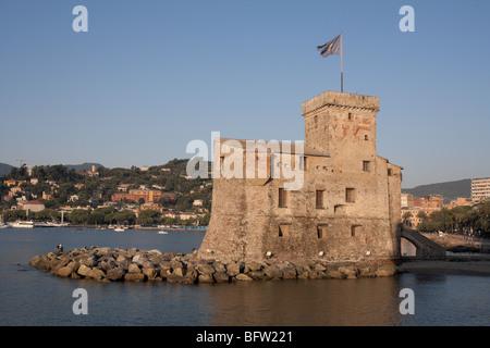 Rapallo castle at dawn. - Stock Photo