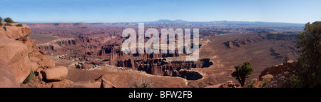Panoramic view looking east into the White Buck canyon area from the Island in the Sky, Canyonlands National Park, - Stock Photo