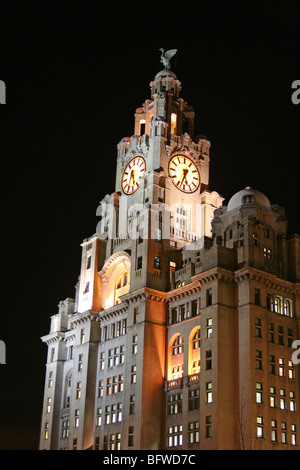 The Royal Liver Building At Night, Pier Head, Liverpool, Merseyside, UK - Stock Photo