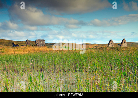 Ruins at Finlaggan, once the seat of the Lords of the Isles. Islay, Scotland - Stock Photo