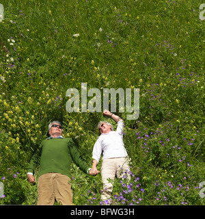 Senior couple lying in field of flowers - Stock Photo