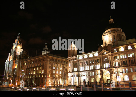 The Three Graces At Night, Pierhead, Liverpool, Merseyside, England, UK - Stock Photo