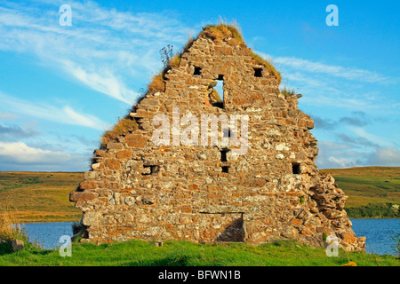 Ruins of a house at Finlaggan, once the seat of the Lords of the Isles. Islay, Scotland - Stock Photo