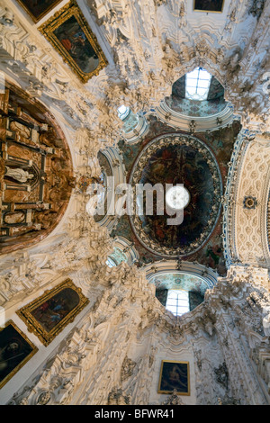 vaulting of sacristy of church, Cartuja de Granada, Granada Charterhouse, Granada, Andalusia, Spain - Stock Photo