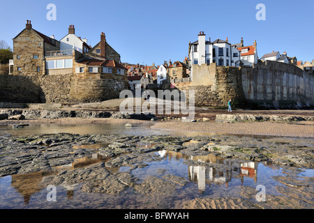 rock pools at robin hoods bay with green sea algae and. Black Bedroom Furniture Sets. Home Design Ideas