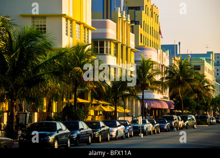 View down Ocean Drive and the art deco buildings of South Beach Miami Florida - Stock Photo