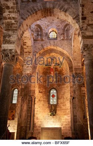 Interior of the Cappella di San Cataldo, Norman style Medievalo Church, Palermo, Sicily - Stock Photo