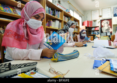 At schools in Egypt they have classes about swine flu as a prevention measure, with brochures and posters - Stock Photo